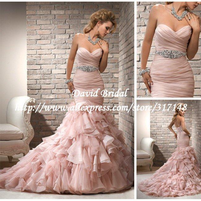 Pink Wedding Dresses Mermaid Style : New style dv beaded sweetheart ruffles organza pink mermaid wedding