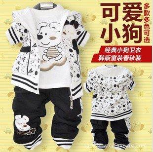Free shipping children'suit(3set/1lot) baby clothing suit 100%cotton cute dog set  girl's sport suit hoodie jacket,t shirt,pants