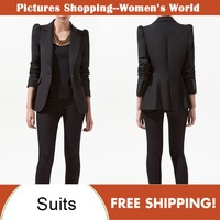 2012 autumn women fashion high quality lapel single fastener pinnacled shoulder casual lady's suits jackets #8535