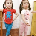 2012 summer applique girls clothing baby casual set tz-0156