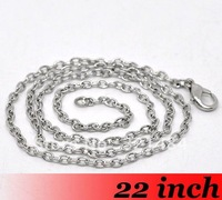 Free Ship!!!100piece Jewelry DIY findings - 2mm 22'' Dark Silver Plated Cable Link Chain Necklace With Lobster Clasp For Pendant