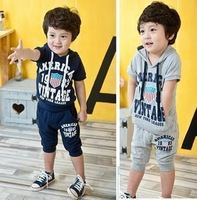 Free Shipping 2014 Summer boys clothing child short-sleeve 1983 classic digital shorts capris Sports set