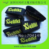 Free shipping 50X550mm 100% nylon black velcro Ski Velcro straps with 1 color custom logo ( HXW-A131)