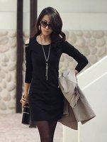 Women fashion slim Rivet O-neck 3/4 sleeve dress evening dress
