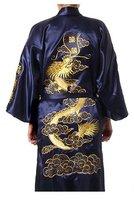 Free Shipping New Navy Blue wome's Robe Satin Polyester Embroider Dragon Kimono Robe Gown Wholesale Retail S M L XL XXL XXXL