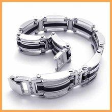 Free Shipping Fashion Jewelry Stainless Titanium Steel Black Rubber Silver Oblong Strip Chain Men Cuff Friendship Bracelet 19437