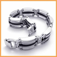 Free Shipping Fashion Jewelry Stainless Steel Bracelet Black Rubber Silver Oblong Strip Chain Men Cuff Friendship Bracelet 19437