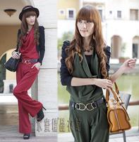 Free Shipping !Hot Selling Women 2014 Autumn OL Halter-neck Plus size jumpsuit +Belt,Long  trousers Wide Leg Fashion Jumpsuit