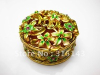 Wholesale(100pcs Pack)-2012 new  flower sharp gold plated pewter Alloy metal jewelry box