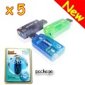 Wholesale 5 New In Retail Packing V 5.1 blk USB 2.0 3D SOUND CARD AUDIO ADAPTER / Dongle For Laptop