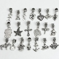 $15 off per $150 order Free shipping 20pcs Lot Mixed Alloy Large Hole Charm Beads Fit European