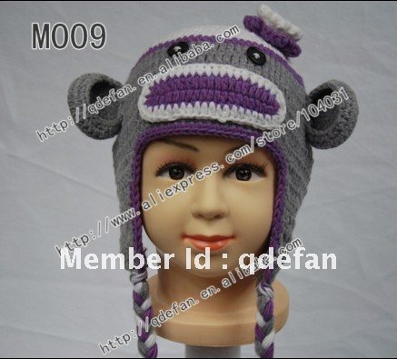 Free shipping (100pcs/) 100% cotton baby crochet monkey hat knit animal beanie hats for kids hand knitted baby hat baby gift(China (Mainland))