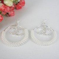 Free shipping   Fashion silvery white big circle earrings