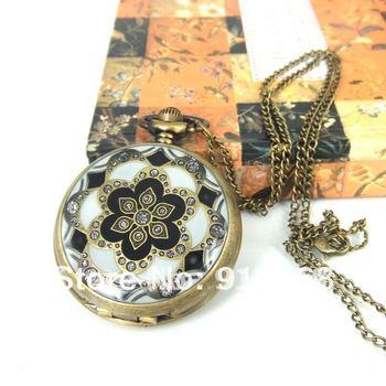 Free Shipping! Wholesale! Men's&Women's Antique Golden Dragon Design Necklace Quartz Vintage Pocket Watches XL111
