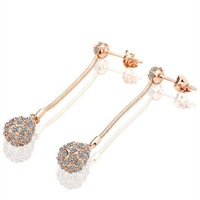18KGP Ball Fashion Earring Freeshipping, 18K gold plated earrings, , plating platinum, Rhinestone new