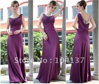 Free Shippment SEXY purple color  long style toast evening dress for lady