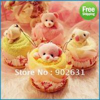 Free Shipping New 50pcs Many Colors Customer Logo Print 100% Cotton Handmade Cute Bear promotion gift cupcake towels