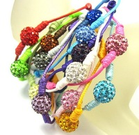 Wholesale100pcs/lot 10mm colorful beads  bracelet for women  Strand rope shamballa bracelet