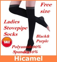 New 2013 Ladies Black Purple Stovepipe Long Socks Over-knee Varicose Veins Slim Slimming  Leg Warmers