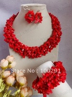 New Red Coral Jewelry Set  Women African Wedding Bridal Necklace bracelet earrings