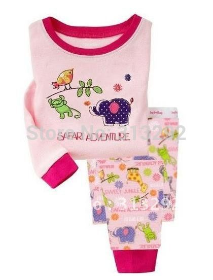 P285, Bird &amp; Elephant, 100% Cotton Rib long sleeve T shirt + pant, Baby/Children pajamas/sleepwear/clothing sets for 2-7 year.(China (Mainland))