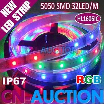 5M Dream Color LED Digital Strip, HL1606 IC(256 scale); 16pcs IC and 32pcs 5050 SMD RGB/M Waterproof IP67 (CN-LS57) [CN-Auction]