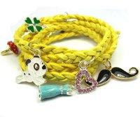 >$10 Free Shipping, genuine leather  bracelet  yellow color,2012  charm  beads,Strand rope shamballa bracelet