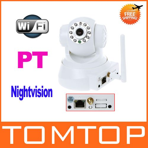2 way Audio WiFi Night Vision CCTV IP Camera IR CMOS PT Security System White Freeshipping Dropshipping wholesale(China (Mainland))