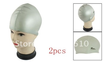 2pcs Grey Soft Silicone Stretchable Swim Swimming Cap Hat for Adults