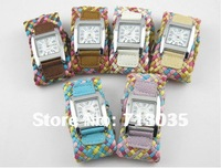 Min.order is $15 Free airmail shipping 6 Colors Lovely Butterfly Crystal Leather Band Watches W27
