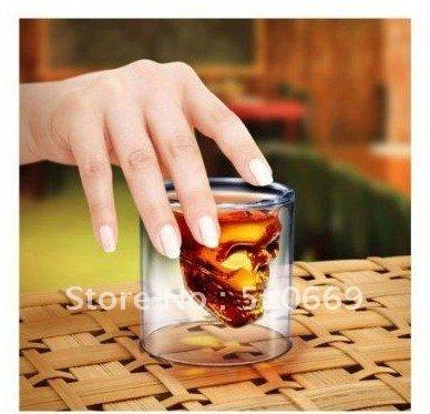 C Free shipping 6pcs/lot Crystal Skull Head Vodka Double Walled Shot Glass ,Crystal Skull Shot Glass(China (Mainland))