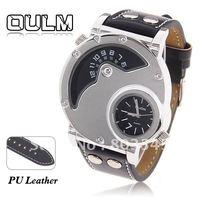 Sample Oulm Brand Best Men's Quartz Military Wrist Watch Clip Design Genuine Leather Band Wristwatch(Oulm 9591)