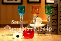 European Style Glass Candleholder for home decoration, Wineglass Candleholder, four colors per lot, free shipping CH04