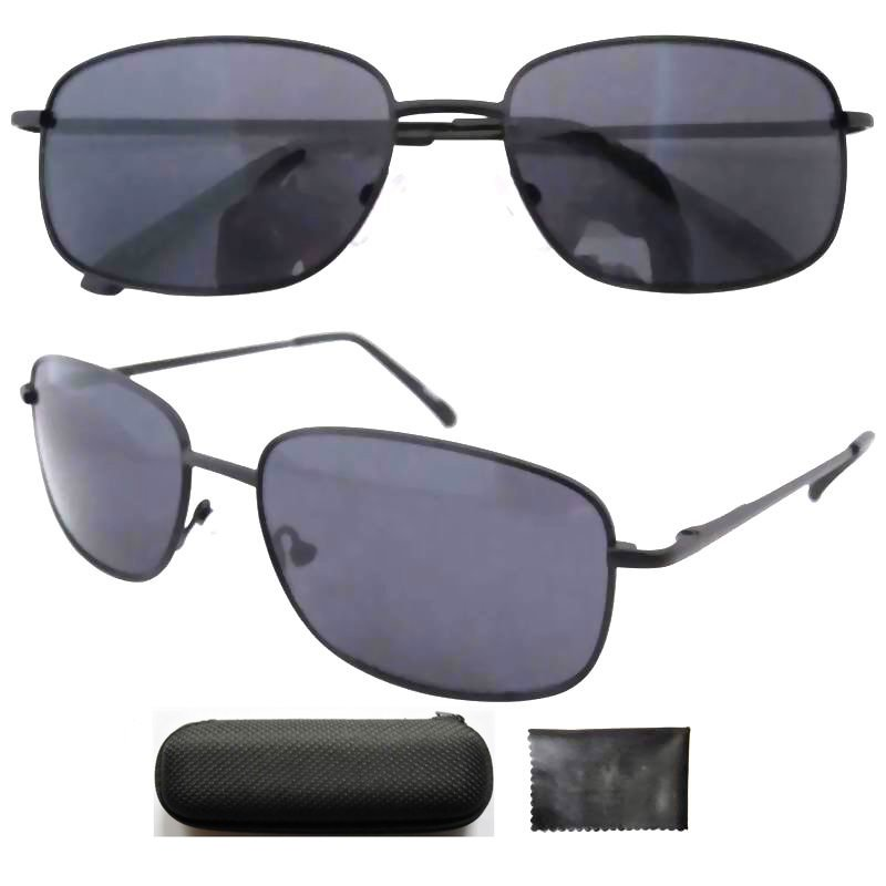 Free shipping FP12076 Quality Black Frame Spring Hinges Temples Small Size Sunglasses W/case(China (Mainland))