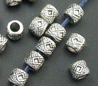 Free Ship 140 pcs Tibet Silver Beaded Drum Spacer Beads 0579
