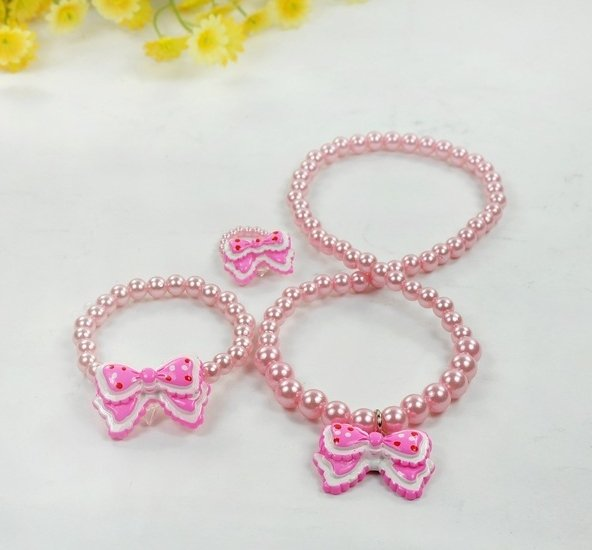 Free Shipping,Color Beads Butterfly tie Pearl Necklace Ring Bracelets Kids Jewellery sets,cute jewellery(China (Mainland))
