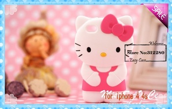 [Easycase ] 3D Cute Soft Silicone Hello Kitty Case Cover Skin For iPhone 4S/4G 10pcs/lot free shipping