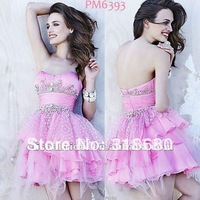 Cute Pink Strapless sweetheart Jewelry Embroidery Bodice Tulle Organza Short Prom Dresses