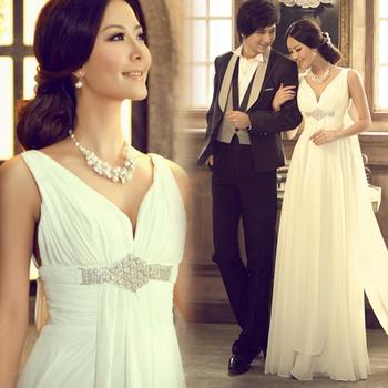 Luxury rhinestone sexy deep V-neck bride short trailing royal wedding dress wedding gown trouwjurk