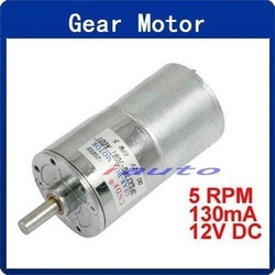 Wholesale 31kg.cm Torque 37mm Dia Permanent Magnetic Gear Motor 5 RPM 130mA 12V DC(China (Mainland))