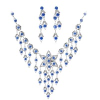 Free Shipping Fashion Rhinestone Bridal Jewelry Set Crystal Wedding Accessories Jewelry Necklace Blue Silver Necklace Women 0330