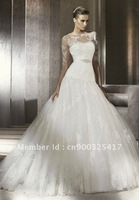 Wholesale-2012 Cathedral Tulle Strapless Sweetheart Ball Gown Elegant Wedding Dress