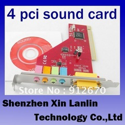 4.1 internal sound card desktop computer sound card 4 channel PCI ESS sound card 1pc free shipping #6938(China (Mainland))