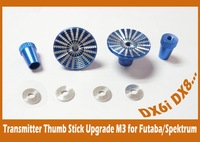 Thumb Stick Upgrade  M3 Size  (Blue) for Transmitter / Futaba / Spektrum DX7 DX8 DX6i  Metal  High quality CNC ~Better Operating
