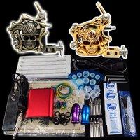 Wholesale - Beginner 2 Gun Kit Pro Tattoo Machine Gun Power Supply Foot Pedal Needles Grip Tip  K14  free shipping