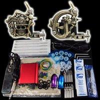 Wholesale - Beginner 2 Gun Kit Pro Tattoo Machine Gun Power Supply Foot Pedal Needles Grip Tip  K15  free shipping