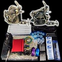 Wholesale - Beginner 2 Gun Kit Pro Tattoo Machine Gun Power Supply Foot Pedal Needles Grip Tip  K19  free shipping