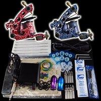 Wholesale - Beginner 2 Gun Kit Pro Tattoo Machine Gun Power Supply Foot Pedal Needles Grip Tip  K20  free shipping