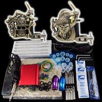 Wholesale - Beginner 2 Gun Kit Pro Tattoo Machine Gun Power Supply Foot Pedal Needles Grip Tip  K16  free shipping