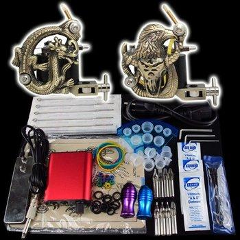 Beginner 2 Guns Kits Pro Tattoo Machine Set Power Supply Foot Pedal Needles Grip Tip Taty Supply  K18  free shipping